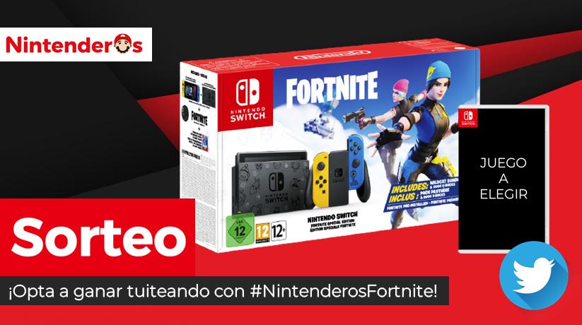 ¡Sorteamos una consola Nintendo Switch Edición Fortnite + juego a elegir!  ➡ Síguenos y RT aquí ➡ Tuitea sin límite de tuits con #NintenderosFortnitediciendo por qué os gustaría ganar  ¡Suerte! -