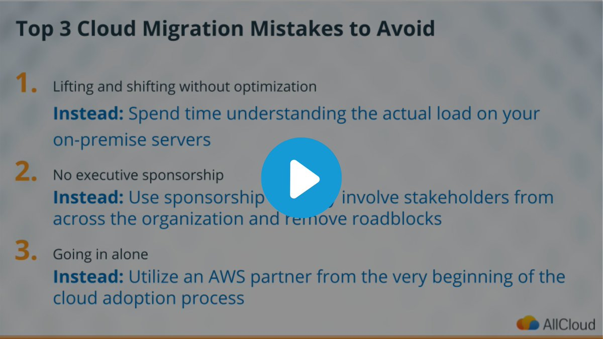 Migrating your organization to the cloud is a critical step for the future of maintaining business success. Justin Mungal, AllCloud's AWS Solution Architect, discusses the top 3 mistakes to avoid for a successful migration. Watch here: