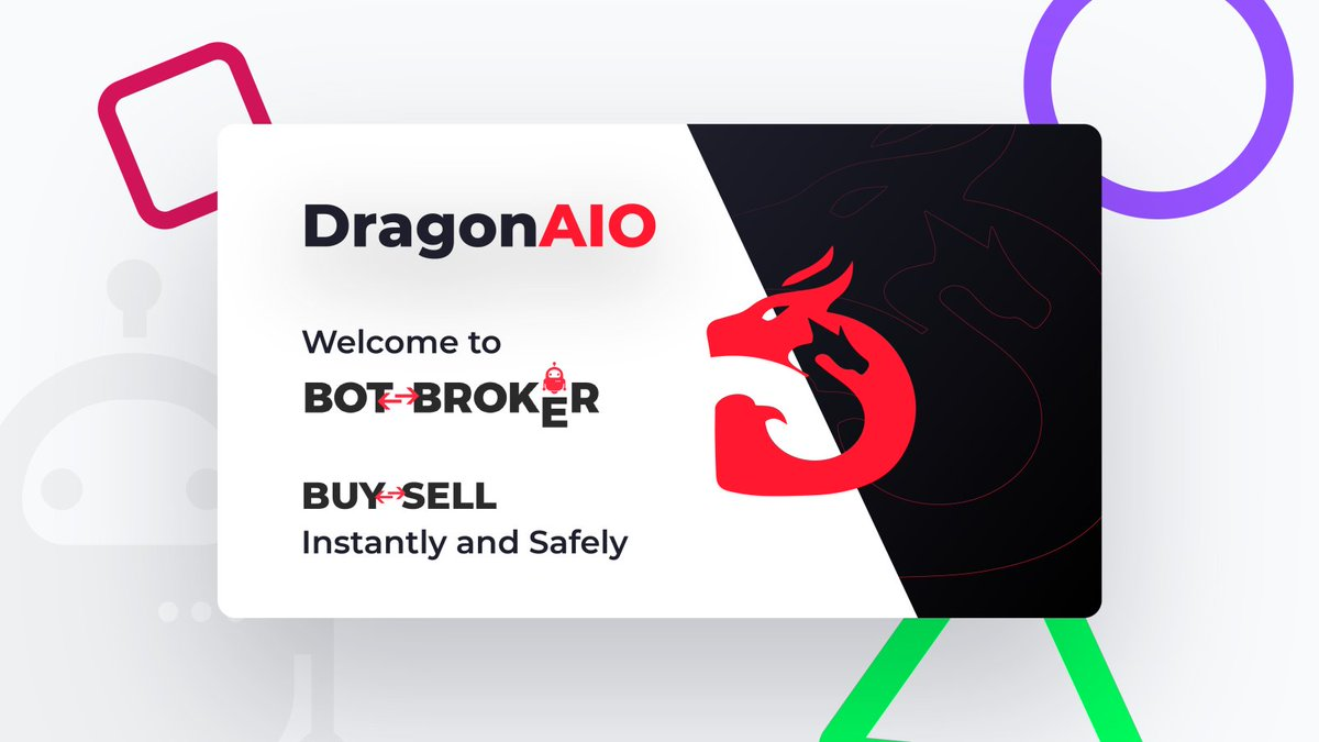 We're excited to announce another member to the BotBroker family @DragonAIOBot 🥳  Safely buy or sell your keys now! 🔥    We're giving away 3 Dragon AIO Monthly Keys to celebrate!   Follow, Like, RT and turn on notifications for a chance to win. ♥️