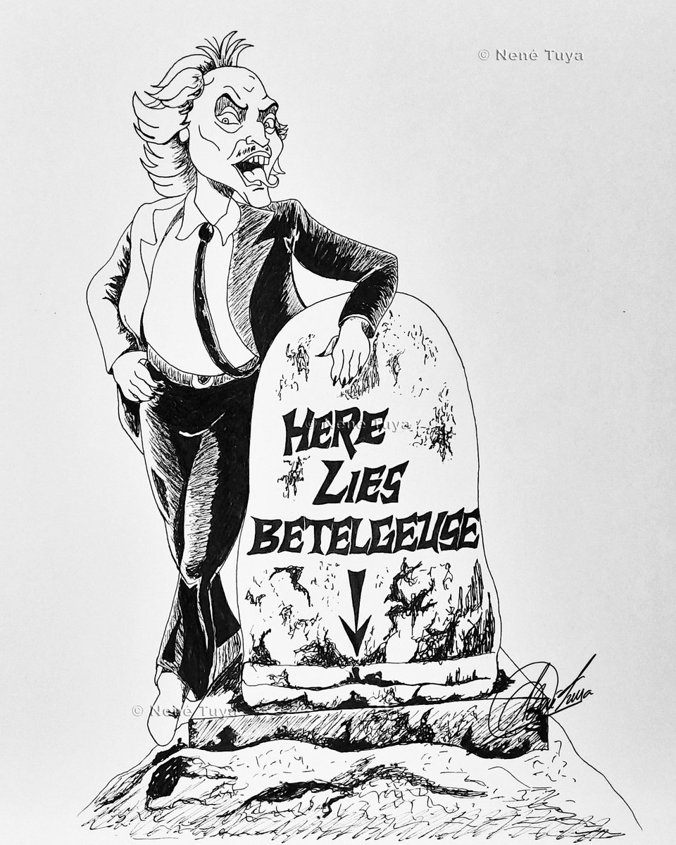 23 Beetlejuice (RIP)  ✅ 🧟♂️⚱🌍🌌🪐🌚 ✅ Me olvidé de publicar todas las ilustraciones que faltaban 😅 #inktober2020 #inktober #day23 #rip #planet #art #artistic #inktoberworld #freestyle #ink #comic #beetlejuice #ilustracion #peculiarart #illustration #space #comicart #nenétuya