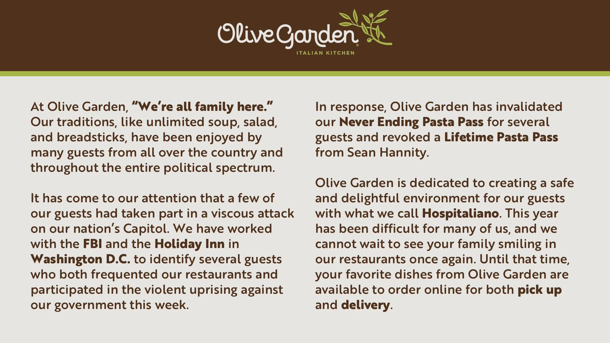 Replying to @paulludwig: NOT THE OLIVE GARDEN REVOKING NEVER ENDING PASTA PASSES! 😂😂