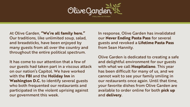 Off to tell my keto-eating husband we have to order from Olive Garden tonight for cancelling Hannity's Hospitaliano