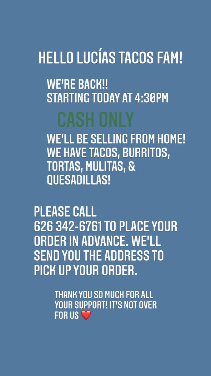 If you are in the Covina CA area, my mom will be selling tacos, tortas, burritos, & more! Due to the pandemic she was forced to close both of her restaurants. But she's back to it selling from home 💙  Even if you can't purchase please share to support! 🙏🏽 muchas gracias