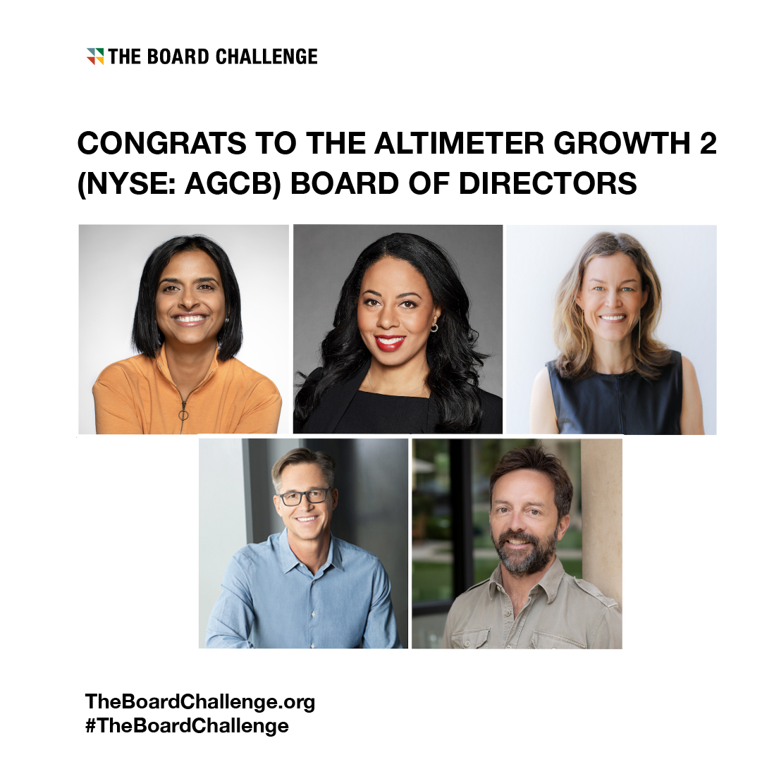 Congratulations to Altimeter Growth 2! AGCB went public yesterday led by an incredibly diverse board of directors with a female majority. We're excited to see such inclusive representation from companies in The Board Challenge community.