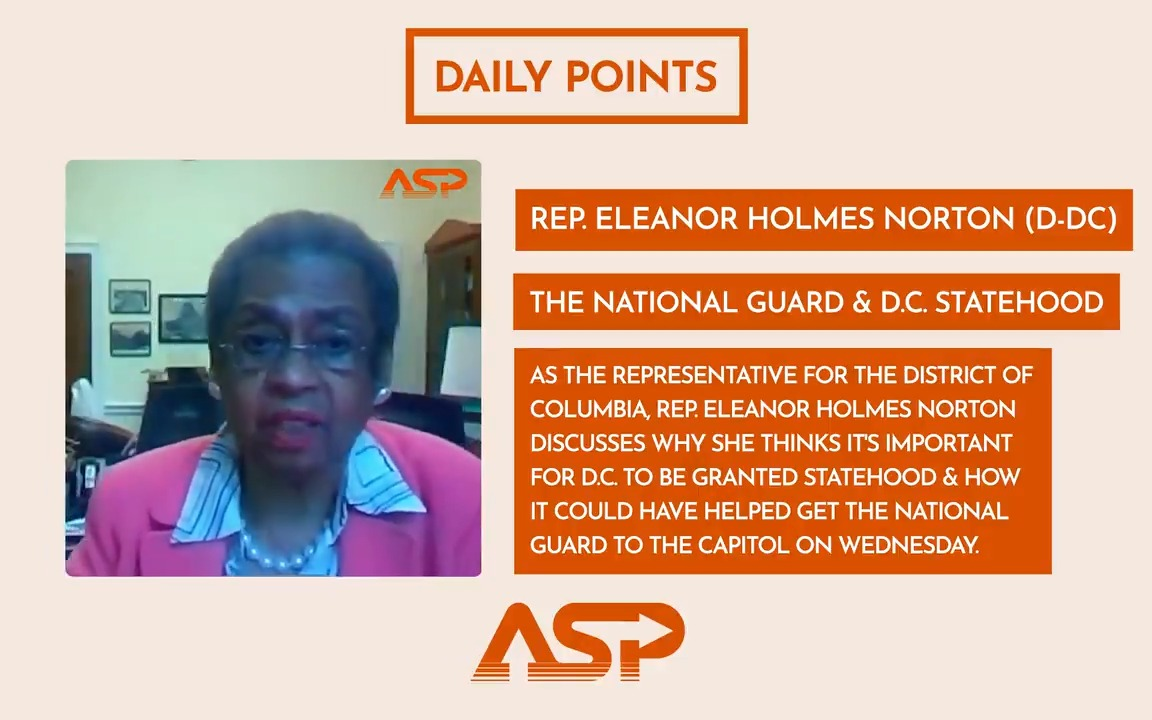 As the representative for the District of Columbia, @EleanorNorton discusses why she thinks it's important for DC to be granted statehood, and how it could have helped get the National Guard to the Capitol on Wednesday. Watch the full #DailyPoint here 👉