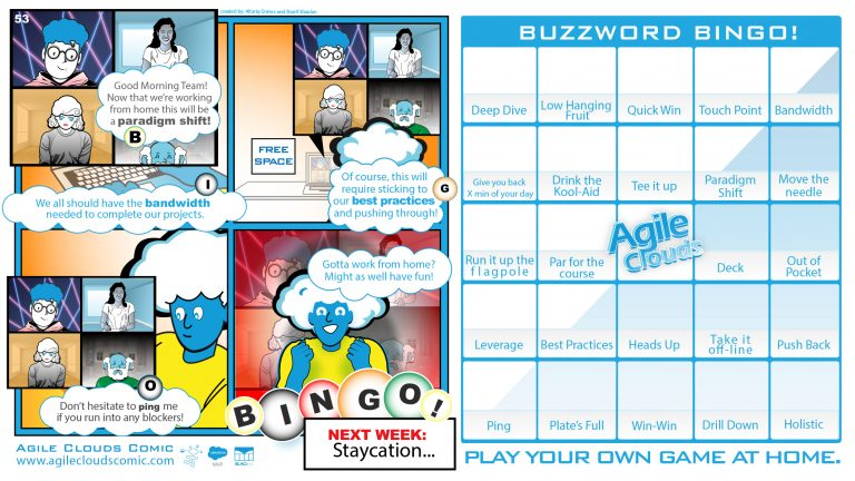 """Friday Friendly Versus continues with... #53 """"Corporate Buzzword Bingo!"""" Vs #51 """"Sorry, We're Closed…"""" #Agilecloudscomic The #EasyChoice #FridayMotivation #FridayThoughts #FridayVibes"""