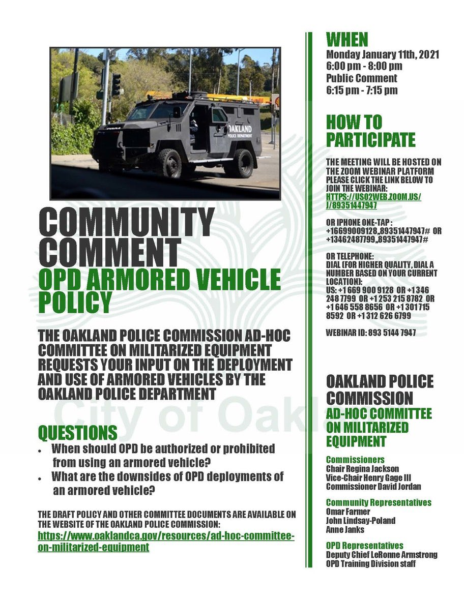 Community Comment: OPD's Armored Vehicle Policy @ Online