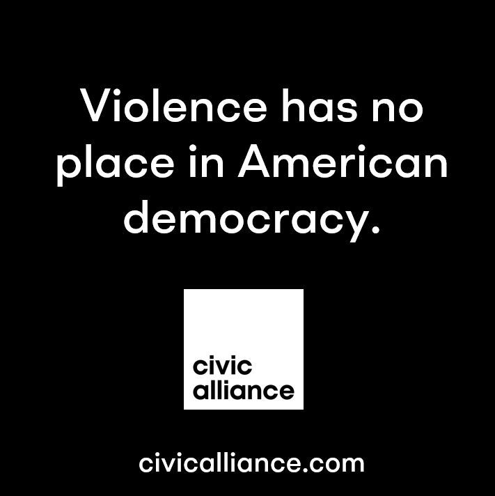 Civic rejects the political violence that occurred Wednesday. We stand with @CivicAlliance and hundreds of other companies that work to protect our democracy and strengthen America's civic resilience for generations to come.⁣ ⁣  #ForDemocracy