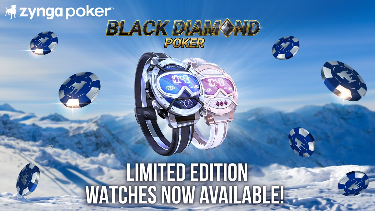 Ready to earn a LIMITED-EDITION piece of wrist bling?⌚  Head in-game now @zyngapoker to earn an EXCLUSIVE 🎿Black Diamond Poker Watch🎿! Win hands to earn tokens - collect 10 tokens and this specialty watch is all yours! Get started NOW: