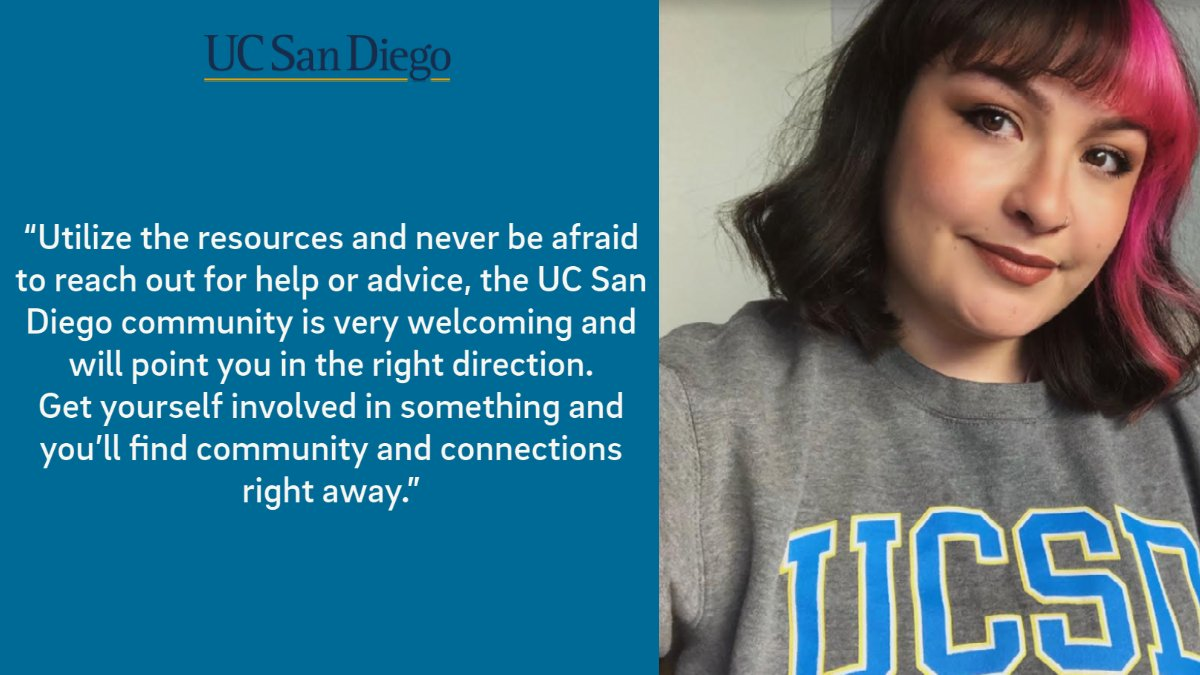 Triton Spotlight 🌟   Xeleste, fourth year transfer student, Sociology major and Raza Resource Centro intern shares their advice on navigating university life as a Transfer student at @UCSanDiego.  #GoTritons #TritonTransfers https://t.co/BOilQdNJ6M
