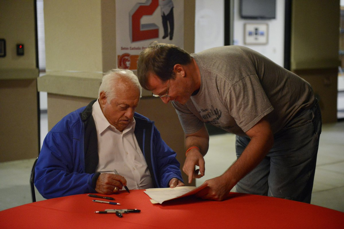 "@TheCousinSal 87 year old Tommy signing a printout of an eBay listing of a $1.25 Mickey Hatcher rookie card. Tommy looked at and signed this ridiculous item (which is framed in my classroom) and said ""He grew up here in Phoenix. And then went to college in Oklahoma"". Sharp as a tack! RIP"