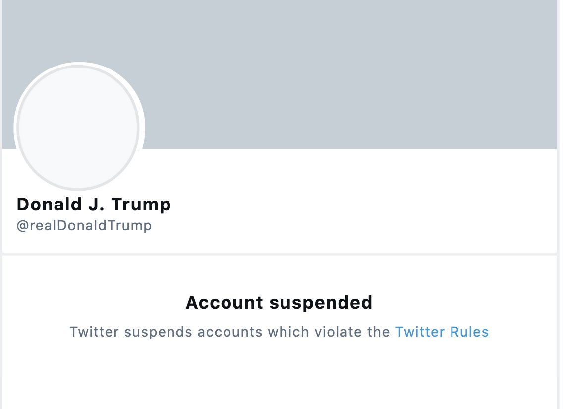 BREAKING  The President's personal Twitter account has been suspended.