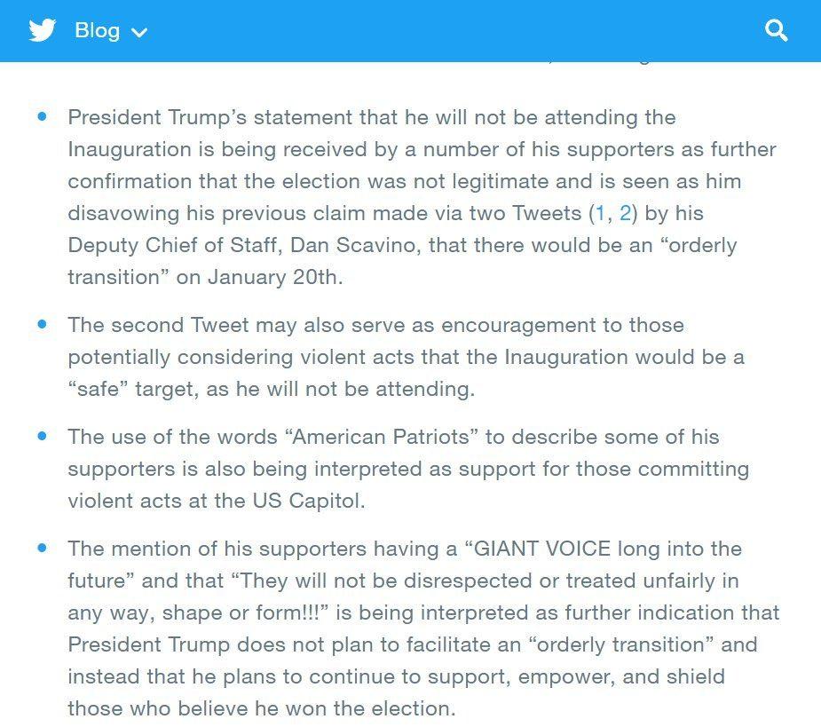Twitter's statement on permanently suspending Trump's account 👇🏼 https://t.co/mVVl9IZ0dn