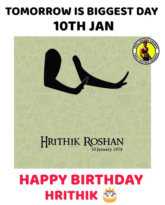 1 Day to go Happy Birthday Hrithik Roshan