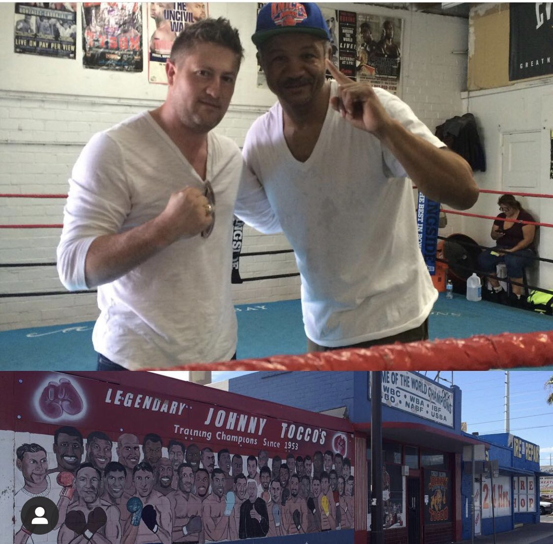 With Merqui Sosa at Johnny Tocco's gym in Vegas. #boxing #johnnytoccos #merquisosa #royjonesjr