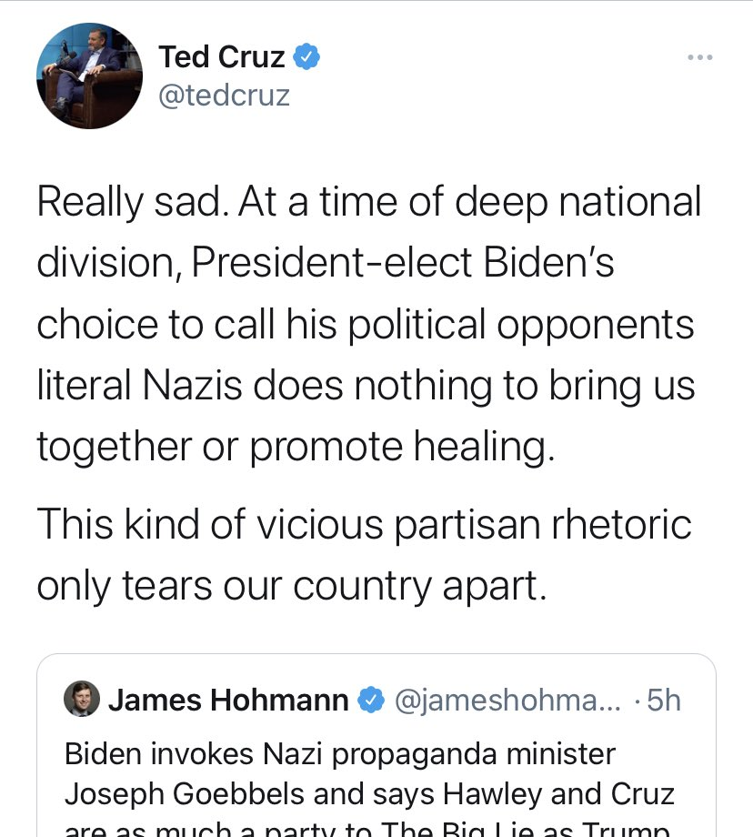 """Nazi comparison aside, it is clear that """"healing"""" is impossible when one political faction has declared actual war on the United States. Not sure how you """"heal"""" from that."""