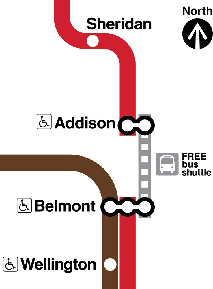 Don't Forget: Starting at 10pm, until Monday at 4:00am, shuttle buses replace rail service between Addison and Belmont on the Red Line. Trains operate between Howard and Addison, and between Belmont, Downtown and 95th. Allow extra time! Details here: