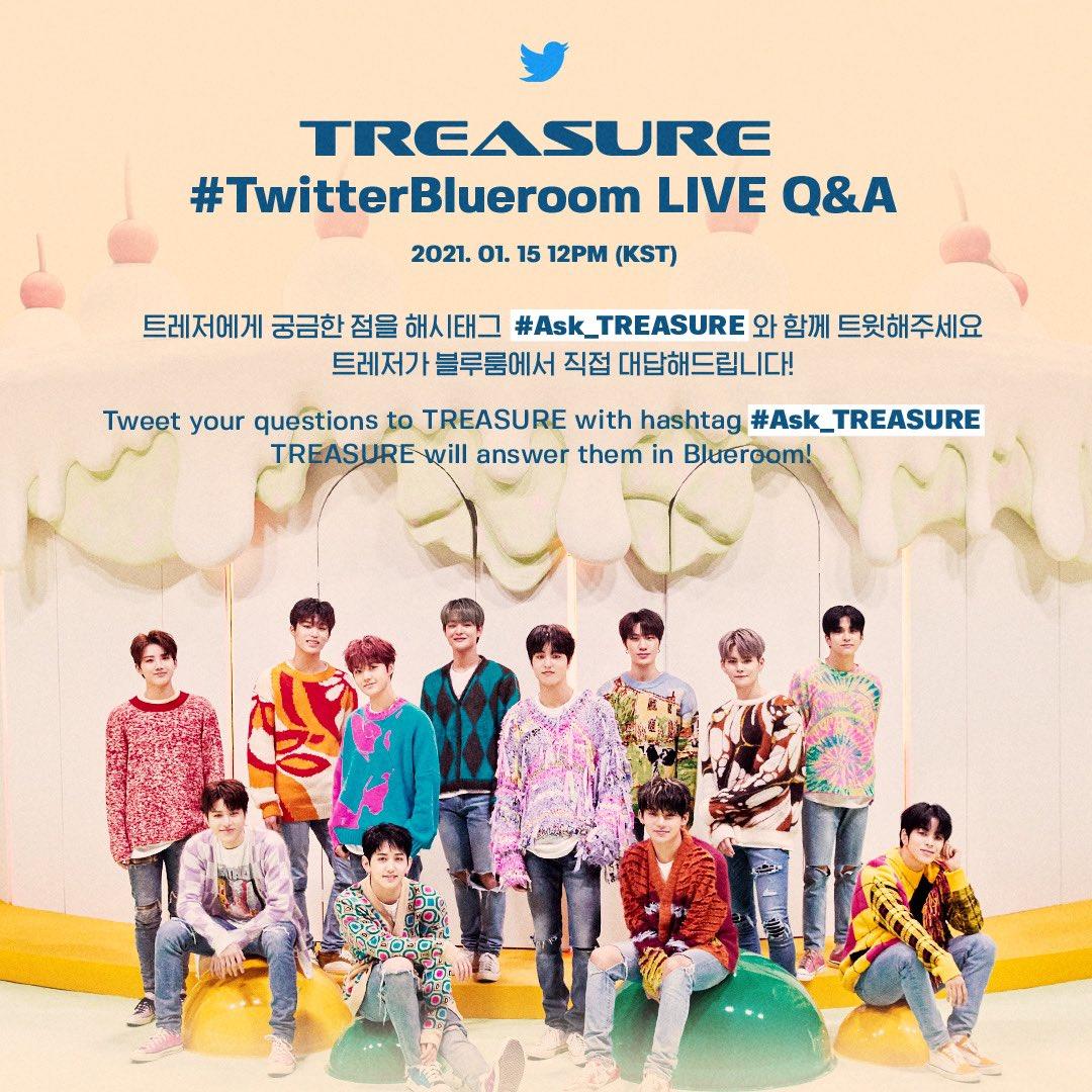 💎1월 15일 오후 12시 (KST) #트레저 와 함께하는 트위터 블루룸 라이브💎 #Ask_TREASURE 해시태그와 함께 트윗으로 질문을 보내주시면 트레저가 라이브에서 직접 답변해드려요💎  #Ask_TREASURE #TwitterBlueroom LIVE Q&A with #TREASURE