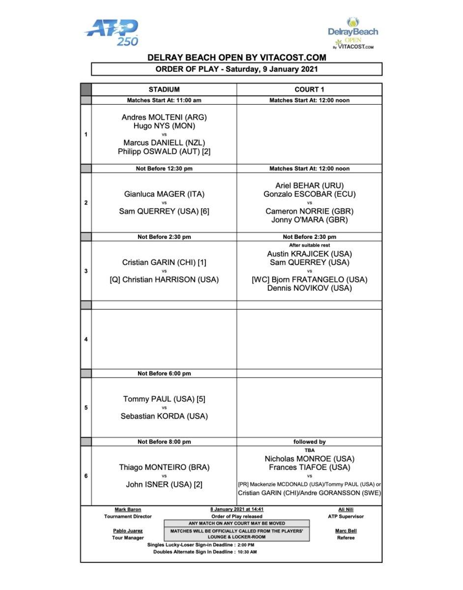 Este sábado 12h00 vuelva a jugar Gonzalo Escobar junto a Ariel Behar, enfrentarán a la dupla británica Norrie/O'Mara. Ganadores clasifican a la semifinal del #ATP250 Delray Beach https://t.co/b9tRY8J8Sr https://t.co/a7Cc9ZgNsW
