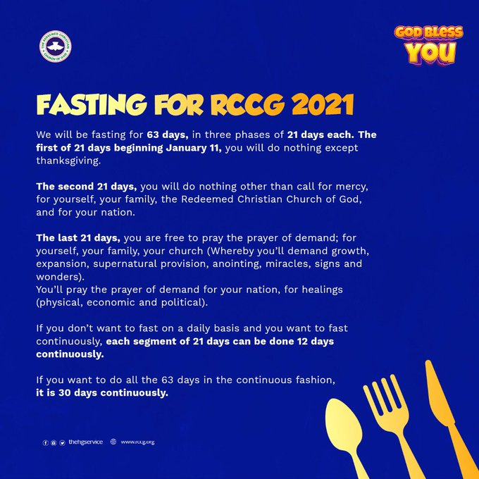 RCCG Fasting And Prayer Points  2021 offers all Redeemed Christian Church of God fasting and prayer points and guidelines.