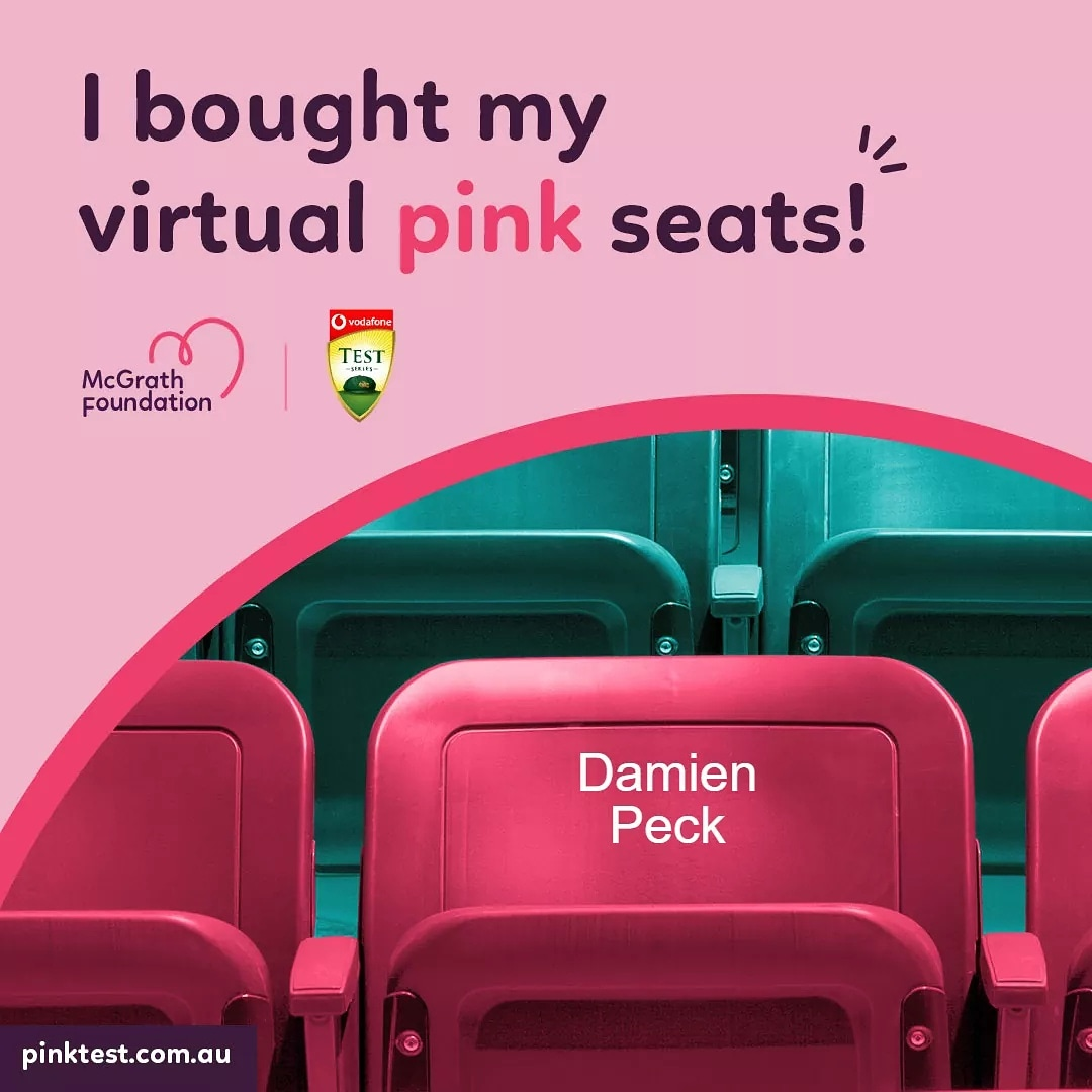 If you haven't got yours yet, buy your virtual Pink Seat for Jane McGrath Day today and help @McGrathFdn raise money to fund McGrath Breast Care Nurses. 👩‍⚕❤️⚕️  #McGrathFoundation #AUSvIND #PinkTest