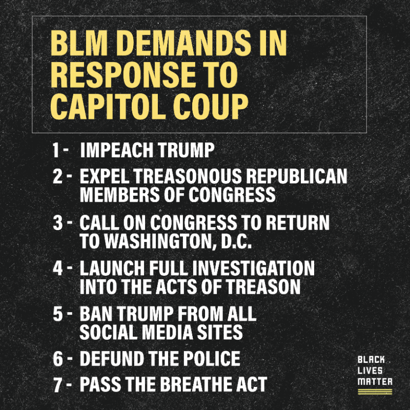 Read our demands in response to Wednesday's insurrection at the Capitol.  #DefundThePolice