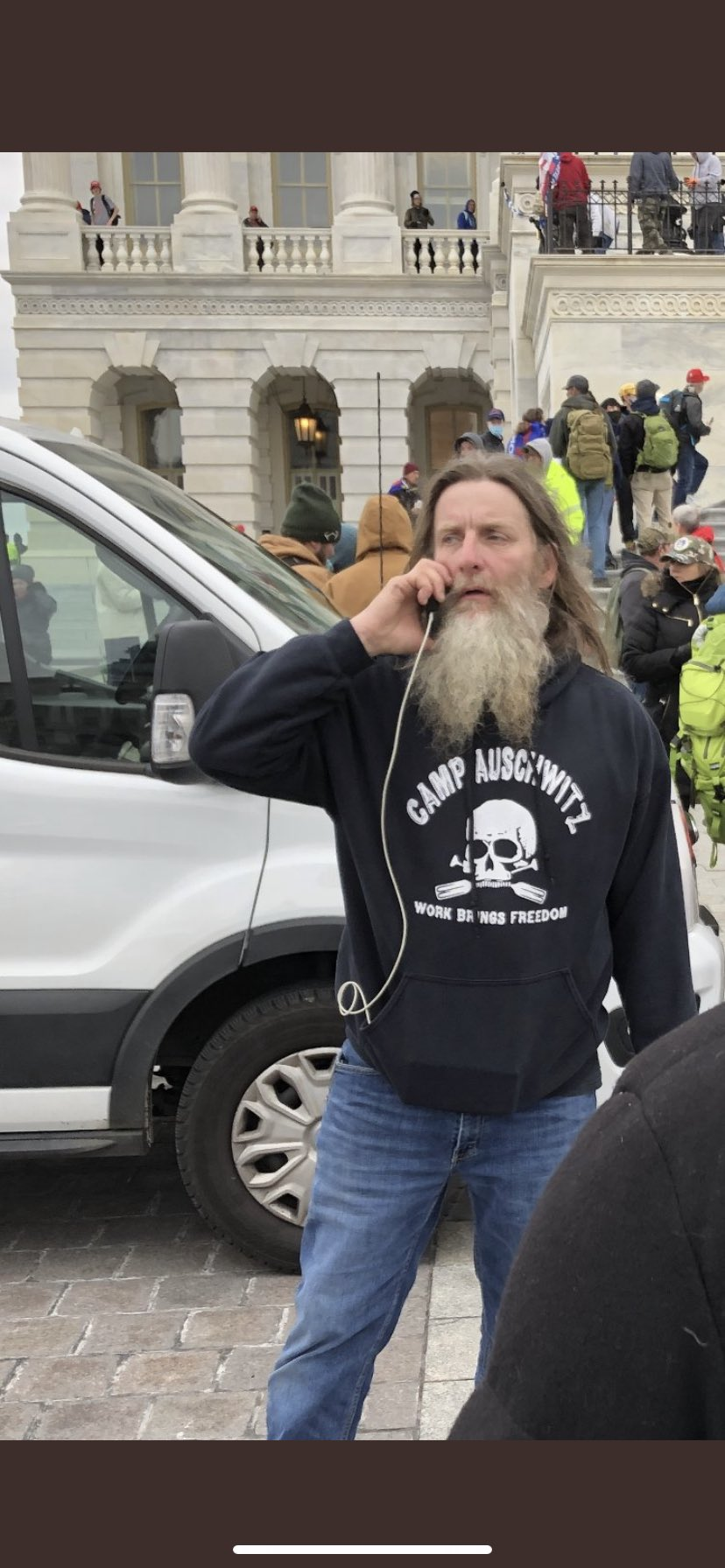 A picture of one of the Trump Supporters at the Capitol riot ErQnHcmXMAcDuO4?format=jpg&name=large