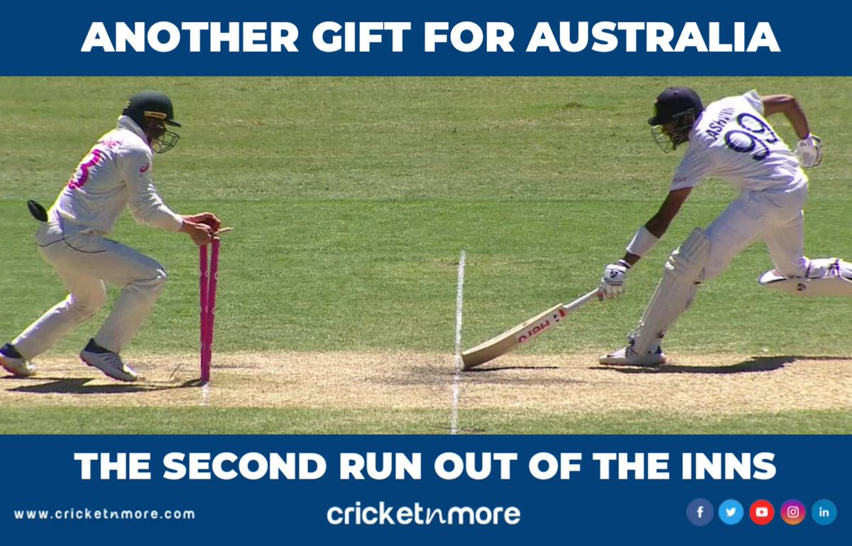 That Was Bad Running Between The Wickets . . #IndianCricket #TeamIndia #Aussie #AustraliaCricket #AUSvIND #NZVWI #SAvENG #ravichandranashwin