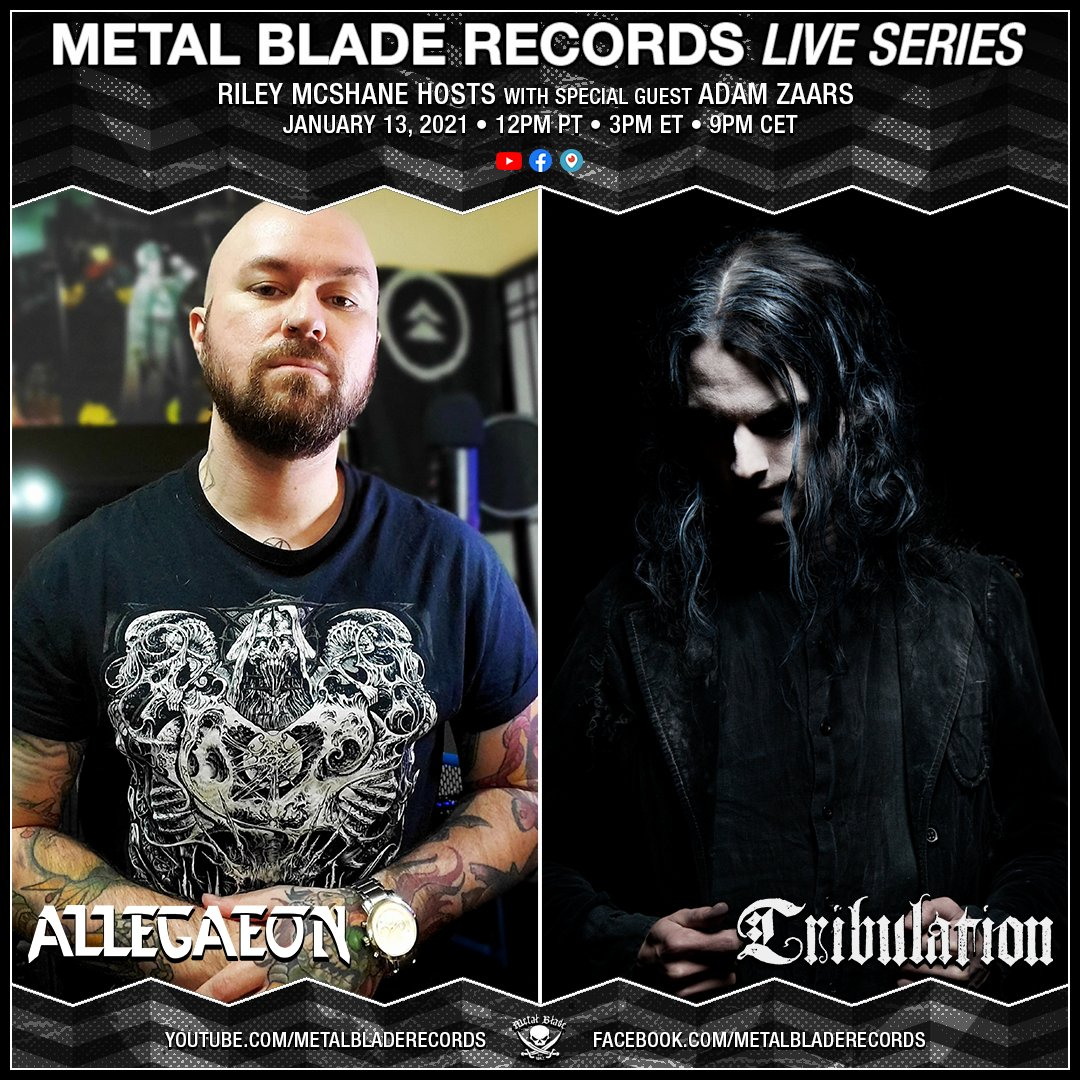 First #MetalBladeLiveSeries of 2021 with Adam Zaars of the mighty #Tribulation; talking the upcoming record #WhereTheGloomBecomesSound and more!  Jan. 13th @ 12PM PT • 3PM ET • 9PM CET  📺: