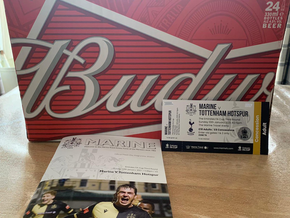 Many thanks to @BudweiserUK and @MarineAFC for giving all members a free crate to watch the match with tomorrow. 👑🍻 👍 nicely done. @CrosenderWay