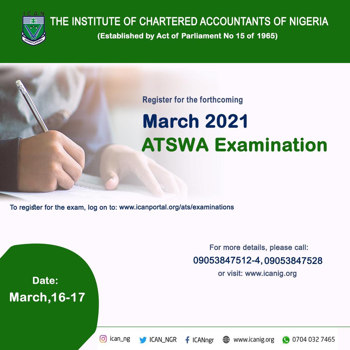 ATSWA Examination Registration March 2021 Diet
