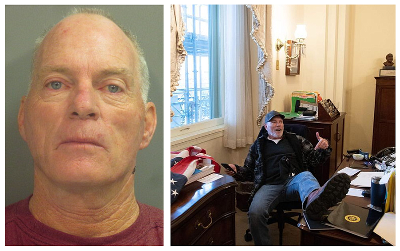 ARRESTED: Richard Barnett, 60, of Gravette, Arkansas was arrested today in Bentonville, Arkansas on multiple criminal charges related to unlawful activities at the Capitol where he was photographed with his feet up on a desk in the  @SpeakerPelosi's office. #DCTerrorists