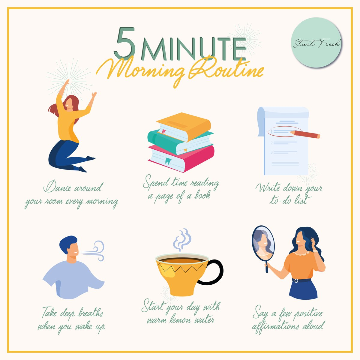 5 minutes is all you need to make the most of your morning and wake up happy! 🙂  خمس دقائق هي كل ما تحتاجه للإستفاده القصوى من صباحك والإستيقاظ سعيداً 🙂 https://t.co/ZgYbfmtPOY
