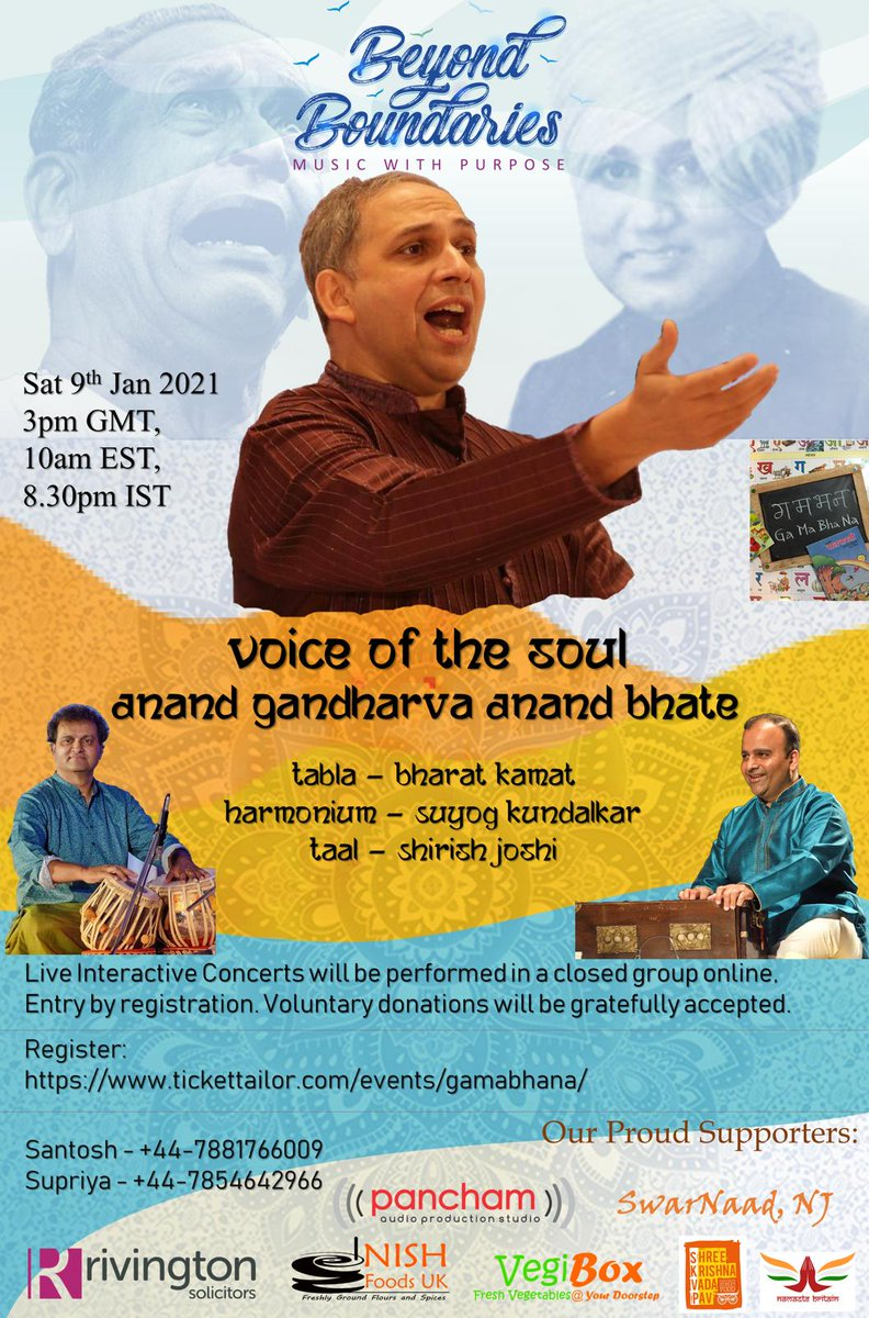"""Looking forward to this online concert today evening 8:30 pm IST To register, please click on this link   Thank you Santosh Deshpande and Supriya Deshpande for the nice initiative """"Beyond Boundaries"""" #AnandBhate #AnandGandharva #onlineconcert #liveinconcert"""