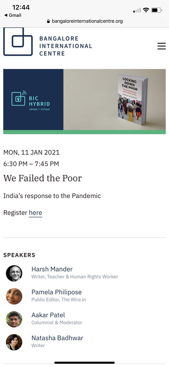 Am moderating a discussion between @harsh_mander @pamelaphilipose and @natashabadhwar on Covid response and lockdown effect on India's poor. This is on Monday evening. Pl consider joining. Link here.