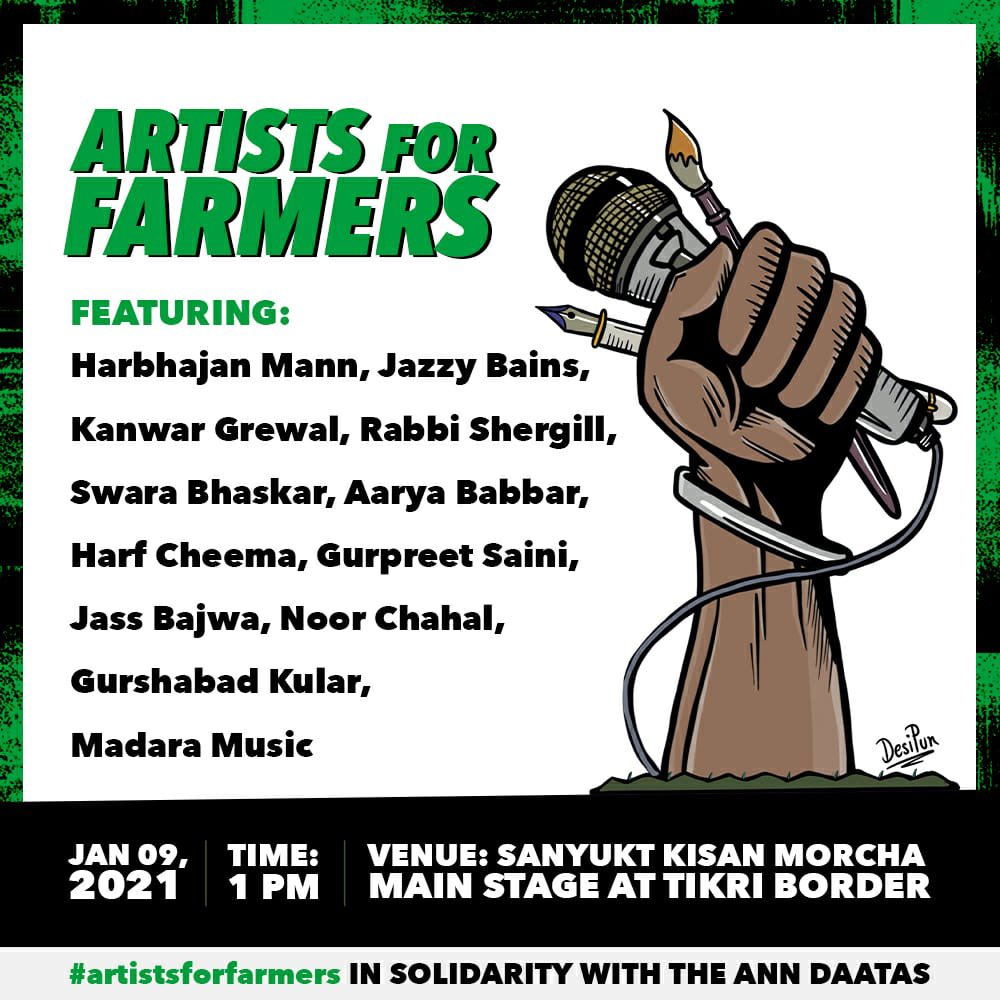 TODAYYYYY! #ArtistsForFarmers at the Sanyukt Kisaan Morcha main stage, Tikri Border Protest site.. Concert for a cause.. pahuncho yaaron! 💜