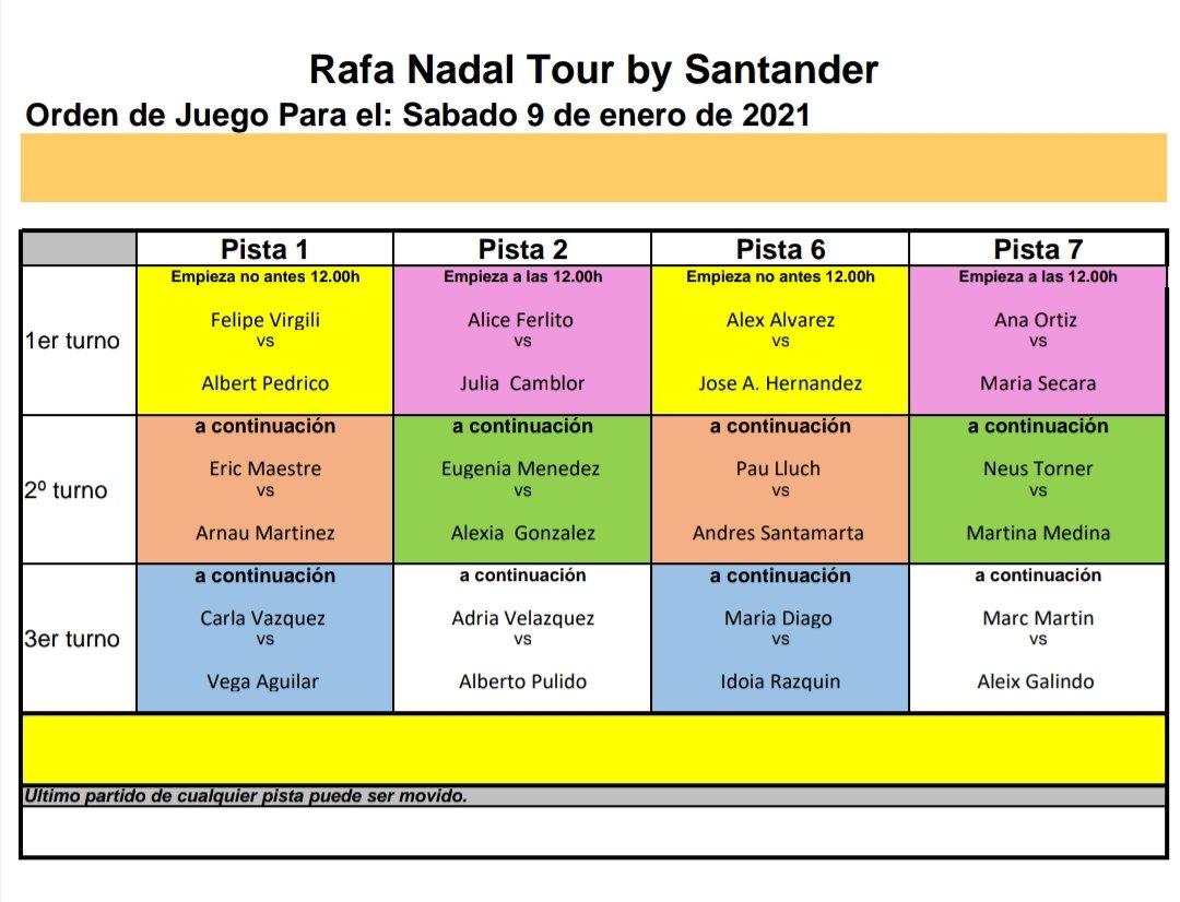 ⚠️ La jornada de hoy del #RafaNadalTour se retrasa por mal tiempo. Comenzará no antes de las 12h (y la previsión no es buena).