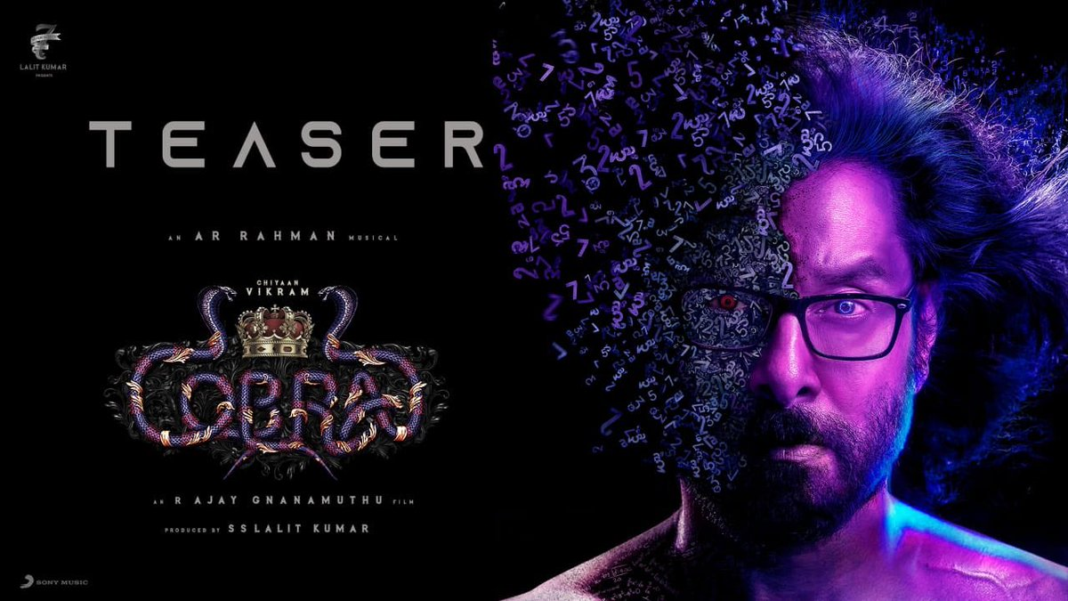 Here's the official teaser of my next film  #Cobra starring the ace performer #ChiyaanVikram sir, directed by my dear friend @AjayGnanamuthu with magical music by the wizard @arrahman sir  @IrfanPathan @MeenakshiGovin2 @dop_harish @amaranart @Tapas_Nayak