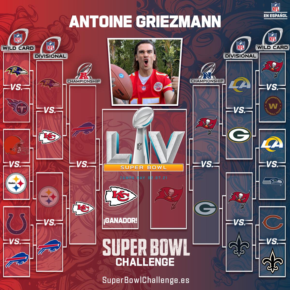 ¿Habrá Super Bowl soñado entre Brady y Mahomes? El fan #1 de #ChiefsKingdom en 🇪🇸 cree que sí 👀 ... Reta a @AntoGriezmann en el #SBChallengeES aquí: