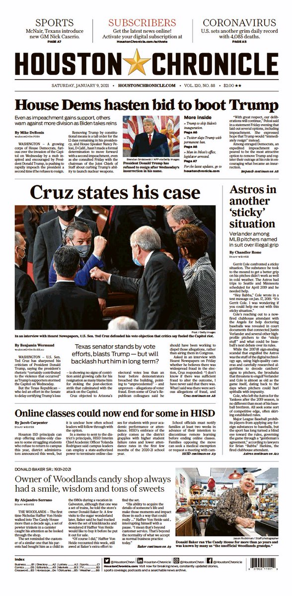 """.@tedcruz: """"What I was working to do is find a way to reestablish widespread trust in the system.""""  No regrets amid growing calls for resignation:   Today's @HoustonChron:"""