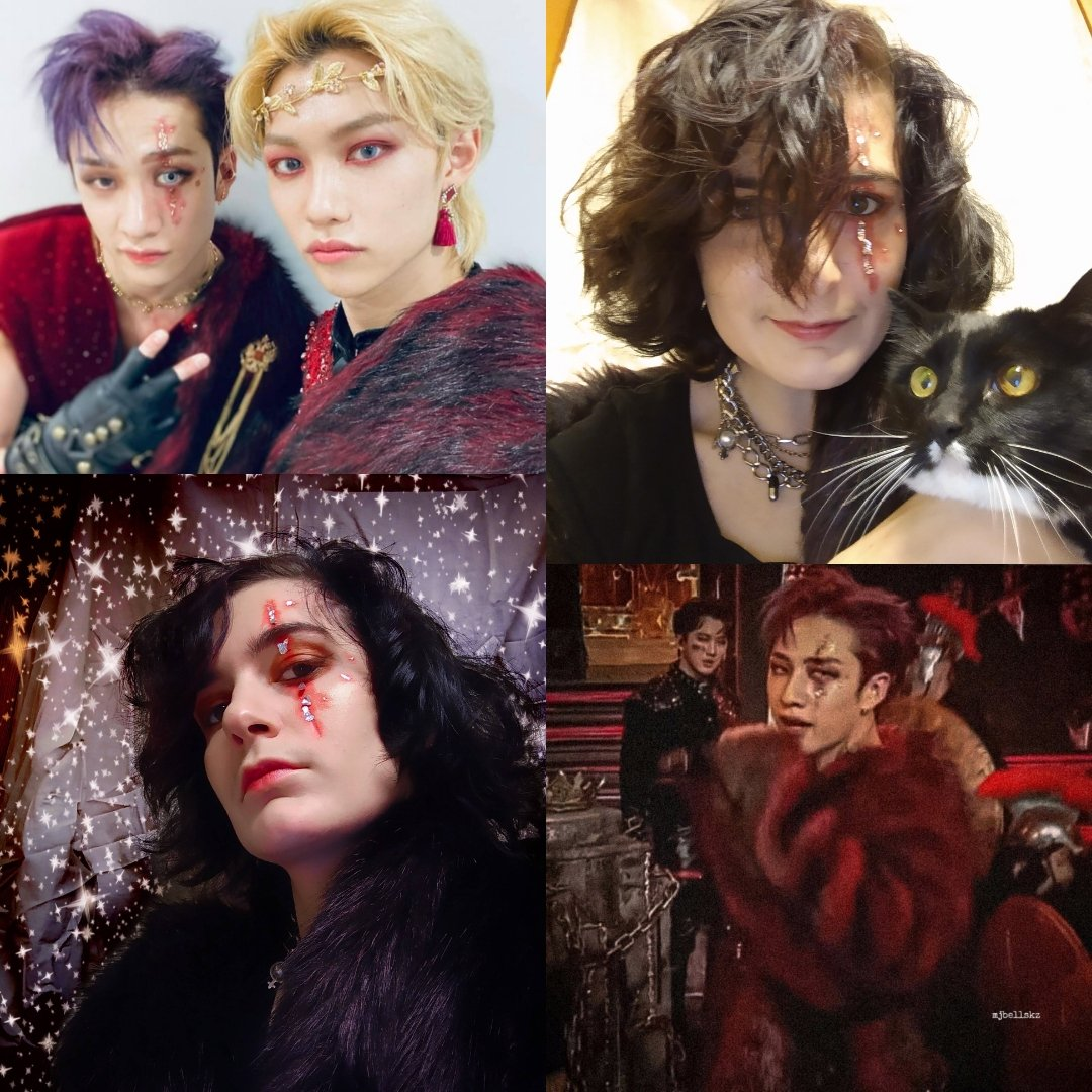 Felt inspired a few weeks ago, and because of covid I haven't had a lot of time to play with makeup. It felt good and I had a lot of fun (starting Styx the cat as #FELIX ) #stayselcaday #bangchan @Stray_Kids