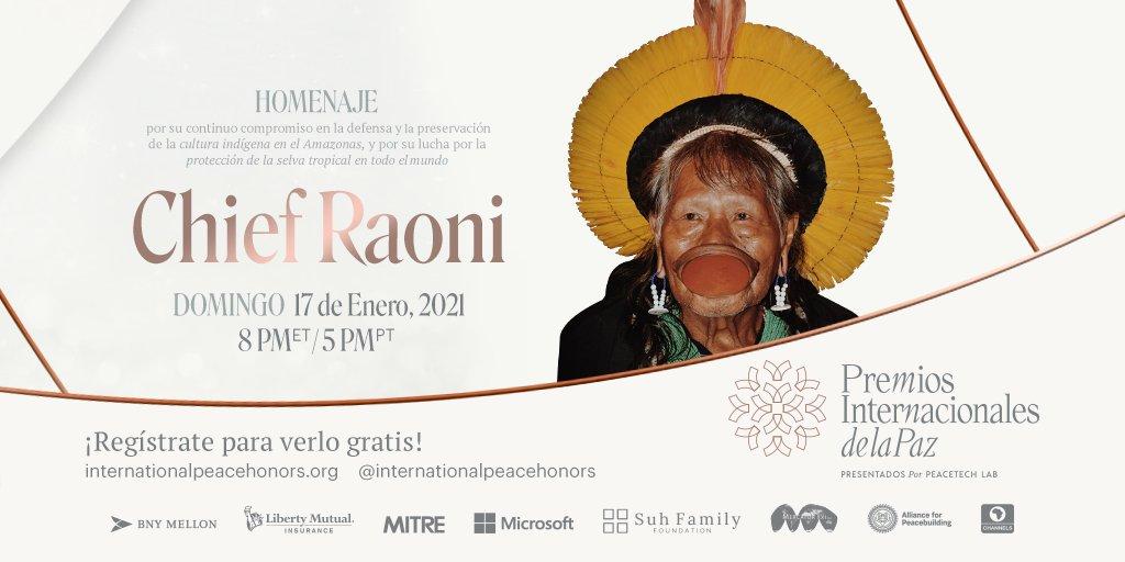 Estamos encantados de honrar al #ChiefRaoni, líder del pueblo Kayapó, y celebrar su compromiso de preservar la #SelvaAmazónica y proteger las #culturasindígenas durante los @premioslntdlpaz el 17 de enero. Regístrate para ver gratuitamente . @InstitutoRaoni