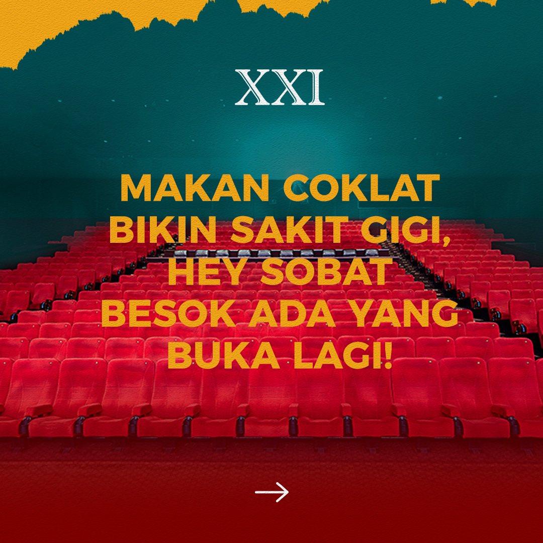 Pengumuman pengumuman, besok ada yang kembali buka nihh!  Buat Sobat XXI Tasikmalaya kembali menikmati pengalaman nonton di Cinema XXI. Jangan lupa selalu terapkan XXI New Habits biar #ASIKnyakeBioskop makin aman dan nyaman serta #RinduNontondiXXI bisa dituntaskan!