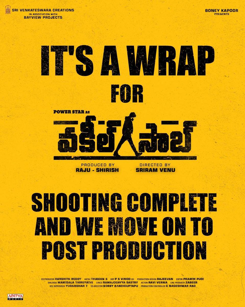 It's a wrap for #VakeelSaab!   Shooting complete & we move on to Post Production.   #VakeelSaabTeaser on Jan 14th at 6:03PM  Powerstar #PawanKalyan #SriramVenu #shrutihaasan #nivethathomas #anjali #AnanyaNagalla #SriVenkateswaraCreations #BayViewProjOffl #BoneyKapoor #Thaman