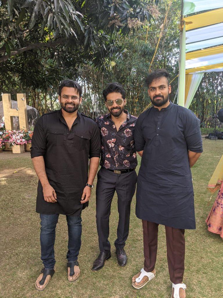 Congratulations on the engagement @harshachemudu   With my close pals/Brothers at the ceremony   @IamSaiDharamTej @vaishnavtej @sushkonidela @Siddu_buoy @ravikanthperepu