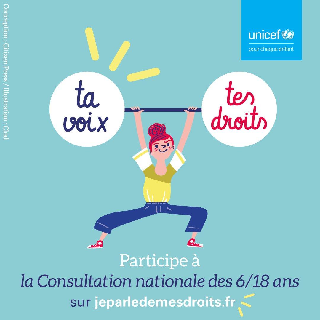 🗓 🖊 Depuis le 15 octobre 2020 et jusqu'au 1er mars 2021, les enfants et les jeunes peuvent s'exprimer sur leur droits et leur éducation en répondant aux questions de la grande #ConsultUNICEF des 6/18 ans organisée par @UNICEF_france 🔎 En savoir plus 👉