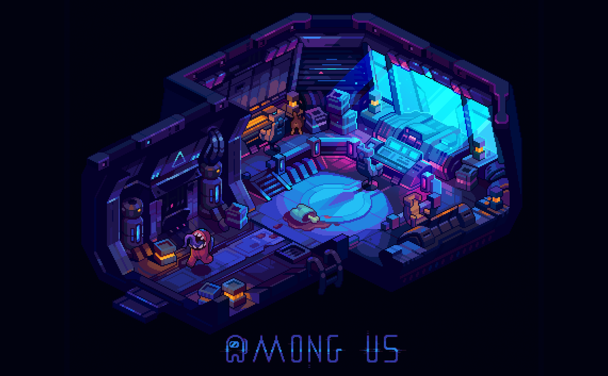 Fan art for the  @AmongUsGame   Me and my little brother love this game ❤️😙❤️  #pixelart #AmongUs #screenshotsaturday #indiegames #ドット絵