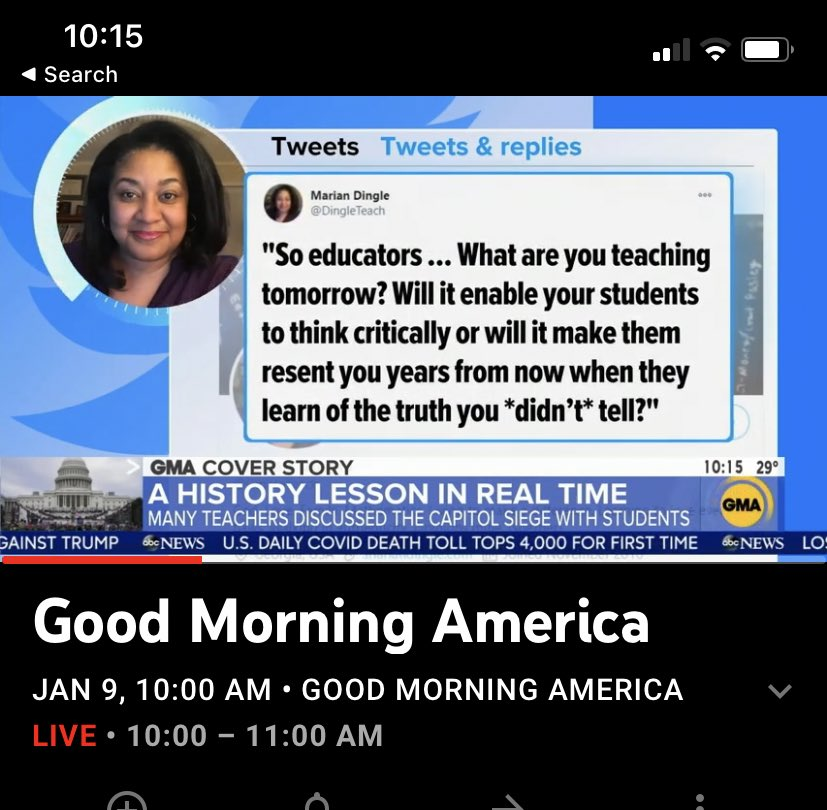Hey @DingleTeach your tweet was just on @GMA!