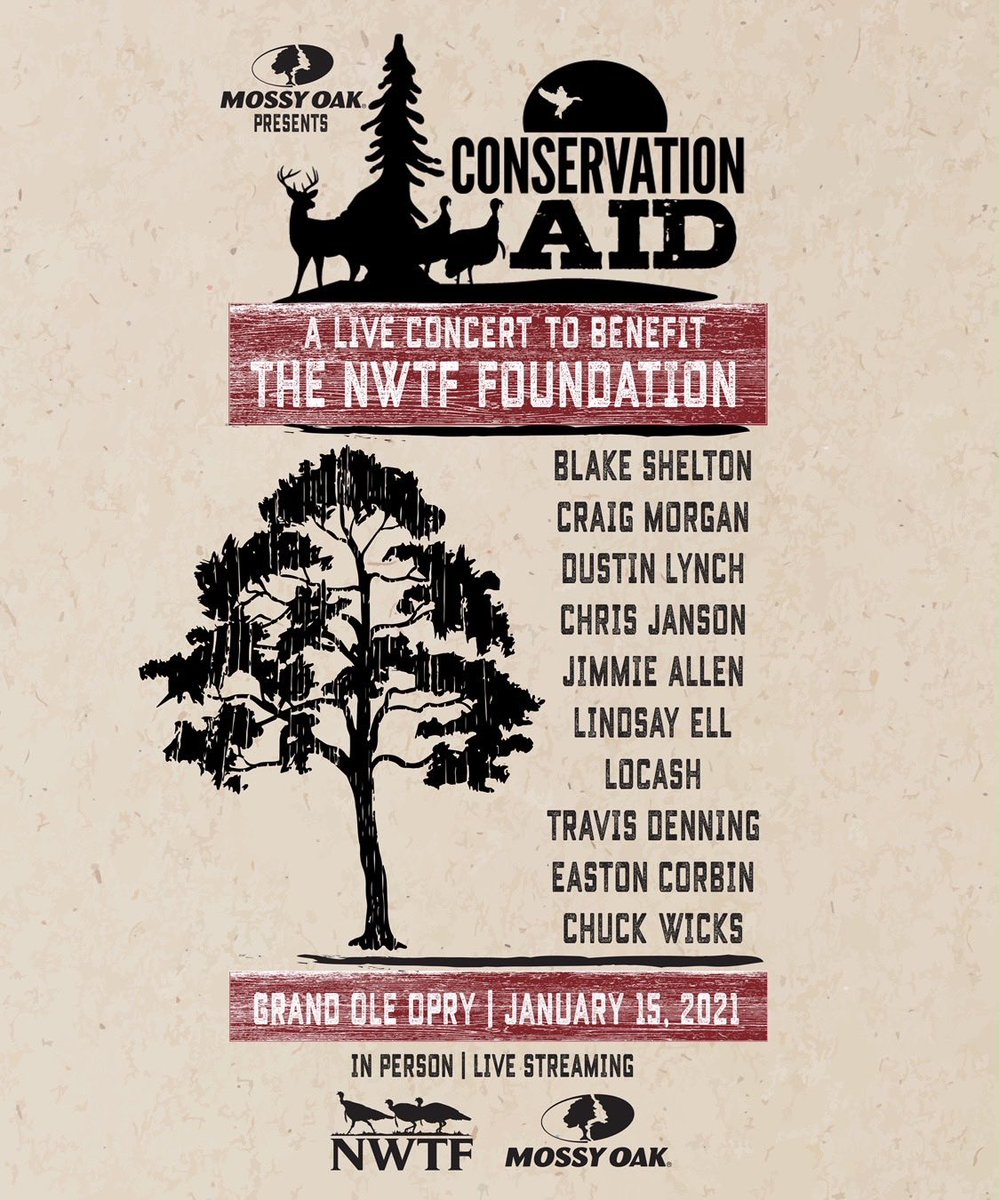 Looking forward to joining some friends for @MossyOak presents Conservation AID! We're bringing the legendary @opry to your living room on Jan 15th to raise money for @NWTF_official. Show kicks off at 7PM and tickets are on sale now.. Go get em!!!