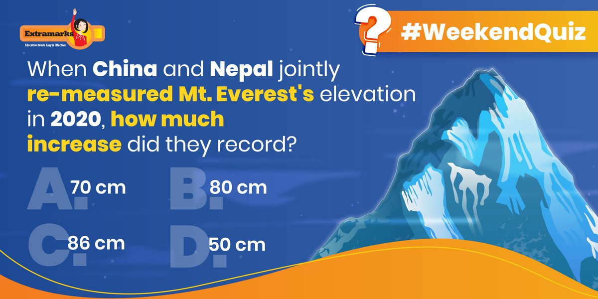 Did you know? The increase in this elevation is caused by a shift in tectonic plates.  #Extramarks #DidYouKnow #WeekendQuiz #QuizTime #MountEverest https://t.co/jtMako2jVu
